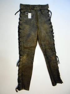 Kožené šněrovací kalhoty MOTOLINE vel. ? -pas:74