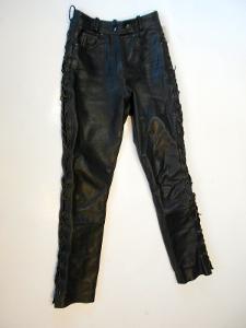 Kožené šněrovací kalhoty - obvod pasu: 64 cm