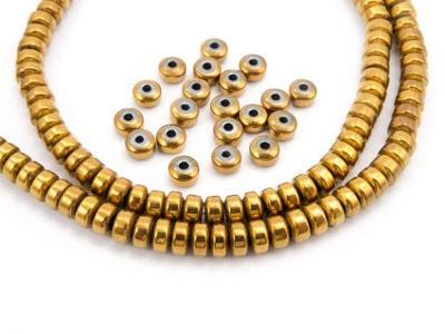 Hematit zlatý, rondelky 2x3, korálky Hm108