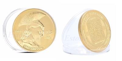 BITCOIN SPARŤAN krypto měna mince pozlacená *126