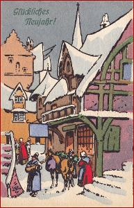 Nový rok * lidé, zima, městský motiv, gratulační * M4127