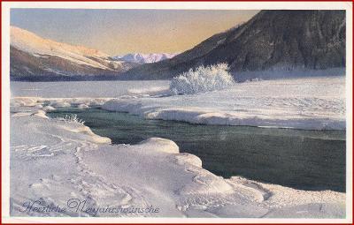 Nový rok * zimní krajina, hory, řeka, sníh * M4434