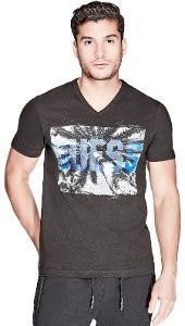 Pánské černé tričko Guess-Chet Palms vel.XS,S,L,XL