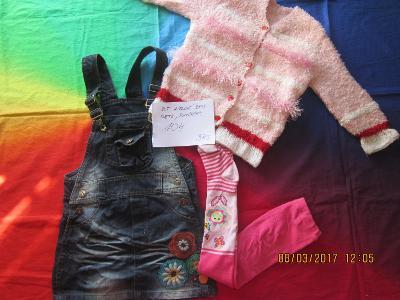 Dívčí setík riflové šaty svetřík vel. 104 3ks
