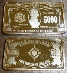 2-50-5000 dolarů Sběratelské CIHLIČKY pozlacené