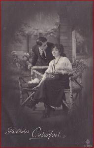 Velikonoce * žena, muž, kraslice, košík * M5247