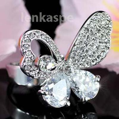 Pozlacený prsten se Swarovski krystalky - motýl