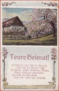 Krajina * chalupa, rozkvetlé stromy, báseň * M4645