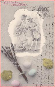 Velikonoce * žena, muž, koláž, gratulační * M3847