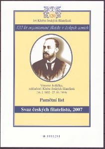PAMĚTNÍ LIST 120 LET KČF - V. JEDLIČKA (T3730)