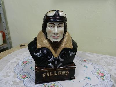 Stará keramická Kasička Busta Pilot Letec Filland