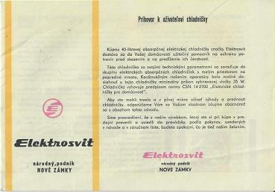 Elektrosvit 40 l TYP 384-A návod + záruční list