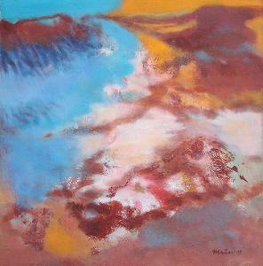 V zasněženém údolí, orig. akryl, abstrakce