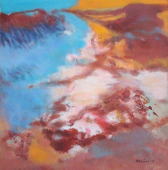 V zasněženém údolí, orig. akryl, abstrakce - Umění