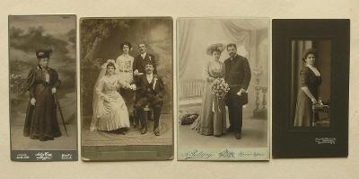 4x atelierová fotografie 1900-1920 - (H54-57)