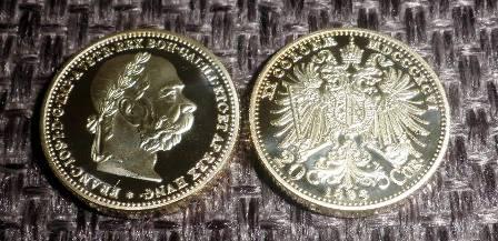 FJI 20 corona 1896 zlacená replika FRANC JOS PROOF