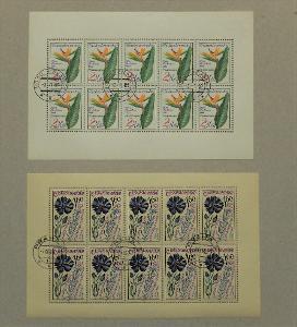 ČSSR DESETIBLOKY 5x ROSTLINY 1965 KVĚTINY HOUBY