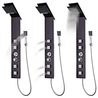 Sprchový hydro-masážní panel z tvrzeného skla