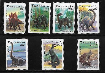 TANZÁNIE 854-60 Dinosauři - kompletní série **