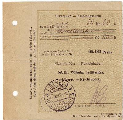 Liberec- Reichenberg, MUDr.W.Jedlitschka, 1929,stv