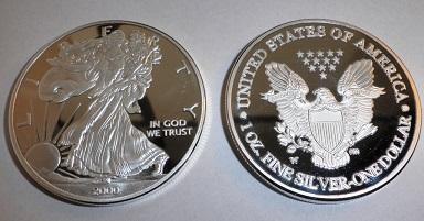 USA 1 dolar 2000 Liberty orel stříbřená kopie