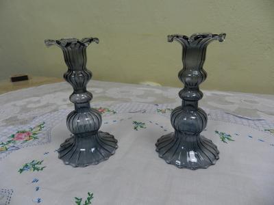Hezké staré skleněné párové Svícny