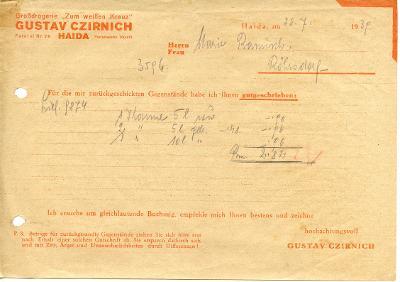 Nový Bor-Haida, Sudety, f.G.Czirnich,drogerie,1939