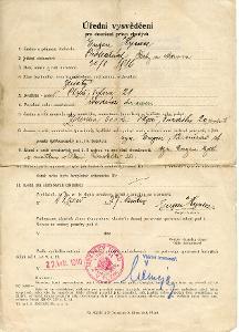 Plzeň- Úřední vysvědčení, právo chudých, 1940