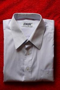 Zánovní pánská bílo-šedá košile L +Dárek