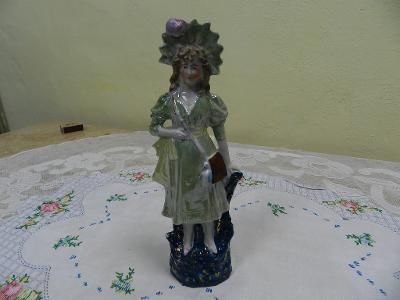 Hezká velmi stará porcelánová soška Dáma Žena