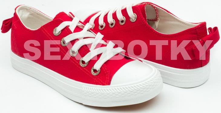 Červené plátěné tenisky s mašlí 36 6e53a8f4f8f