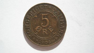 Dánsko 5 Öre 1908