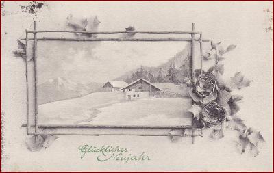 Nový rok * chalupa, hory, krajina, zimní motiv, gratulační * M5213