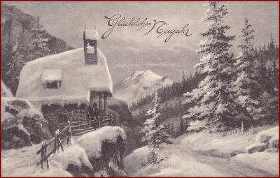Nový rok * chalupa, hory, zimní krajina, gratulační * M5368