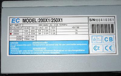 PC zdroj EC 250X1 (funkční)