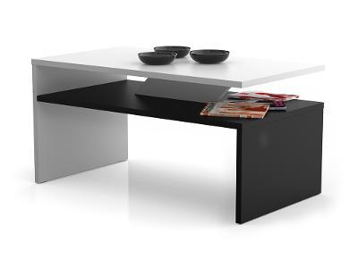 Konferenční stolek PRIMA bílý + černý