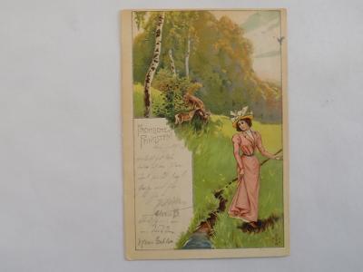 MYSLIVOST - DÍVKA A SRNKY,DA, PROŠLÁ 1901