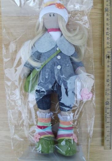 Textilní panenka handmade za 1/2 ceny, NOVÁ !!!