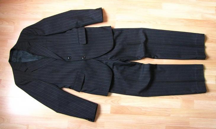 Starý pánský oblek s proužkem vlna vel. M-L 1962  20cb429eb0