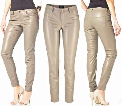 Nové béžové kožené (koženkové) slim kalhoty Laura Scott vel. M 38/40
