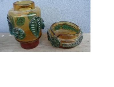 váza a popelník - Josef Hospodka - sklárna Prácheň