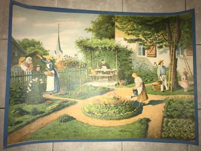 Školní plakát , Léto v zahradě,1893, Karel Jánský