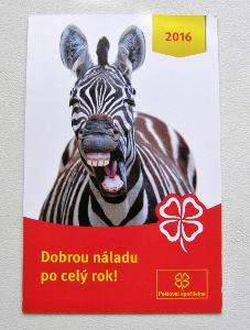 KARTIČKOVÝ KALENDÁŘ 2016 - ZEBRA - ČS SPOŘITELNA
