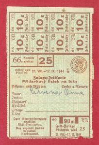 Přídavkový lístek na tuky 1944, vydání 66/25, celý