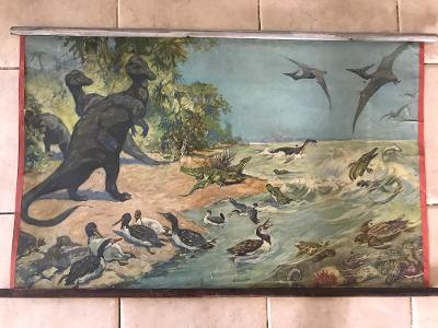 Školní plakát Pravěk , zvířata