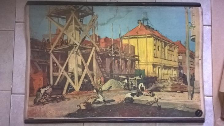 Školní plakát Stavba domu, Bokšaj - Antikvariát