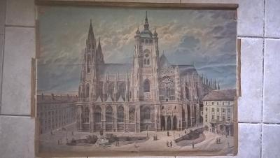 Školní plakát Katedrála , Pražský hrad , litografie , Praha