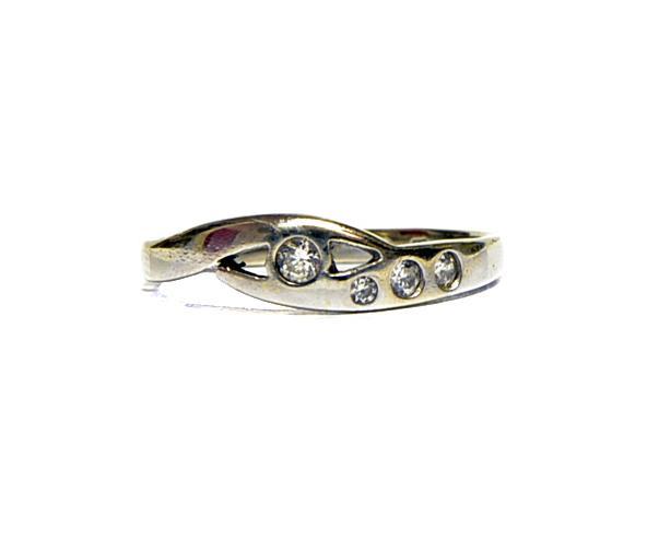 Zlatý prsten se čtyřmi zirkony AUBAZAR0049 - Starožitnosti