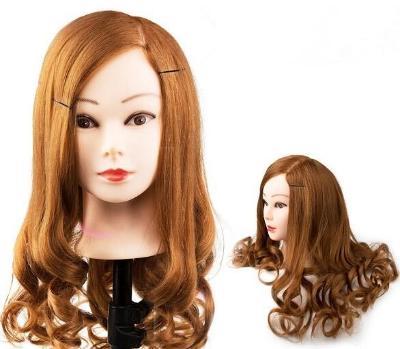Cvičná hlava pro kadeřníky 80% lidský vlas (H80BR)