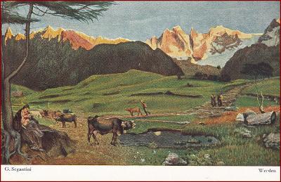 Krávy (zvířata) * krajina, hory, Alpy * M2716